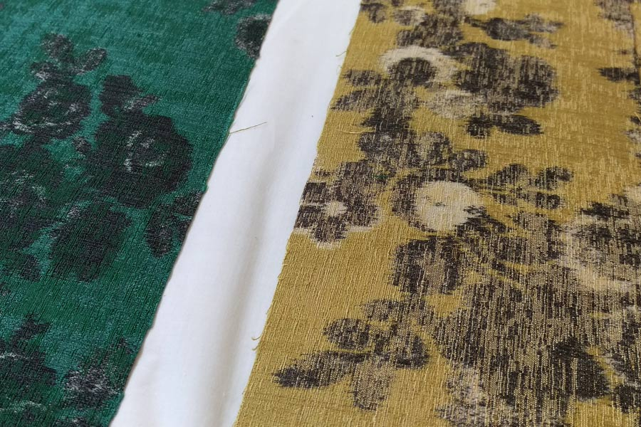 Fabric samples for the Abbott & Boyd lampshades
