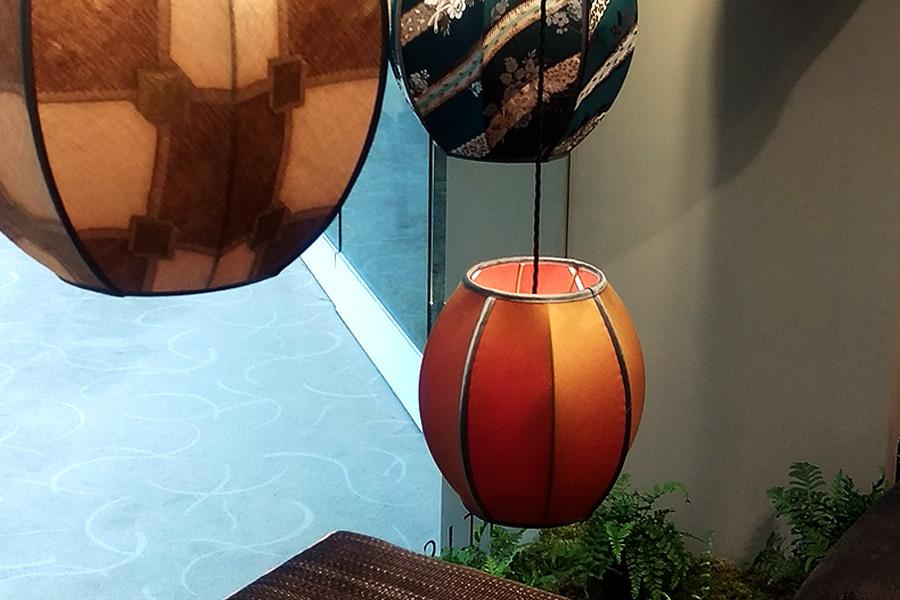 Corner window lampshade display at Abbott & Boyd Showrooms