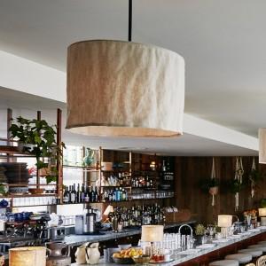 Linen pendant lampshade for Soho House in Berlin.
