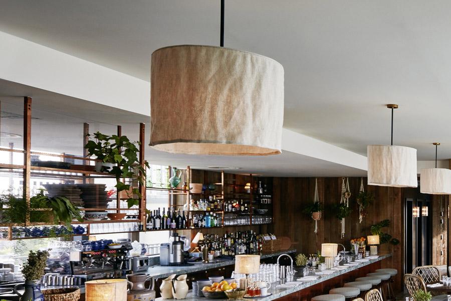 Linen pendant lampshade for Soho House in Berlin