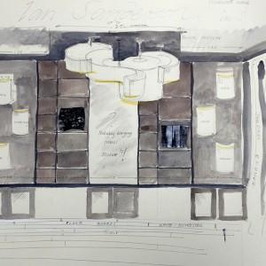 Sketch of the room interior design for Ian Sanderson Decorex.