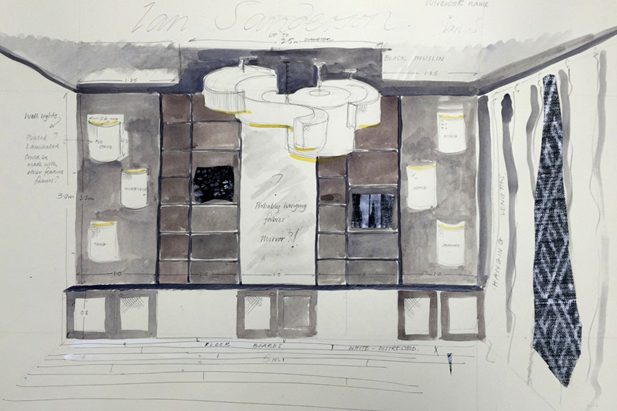 Sketch of the room interior design for Ian Sanderson Decorex