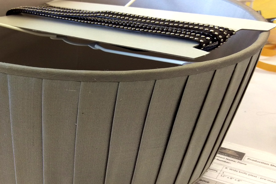 Pleated drum lampshade for Samuel & Sons.