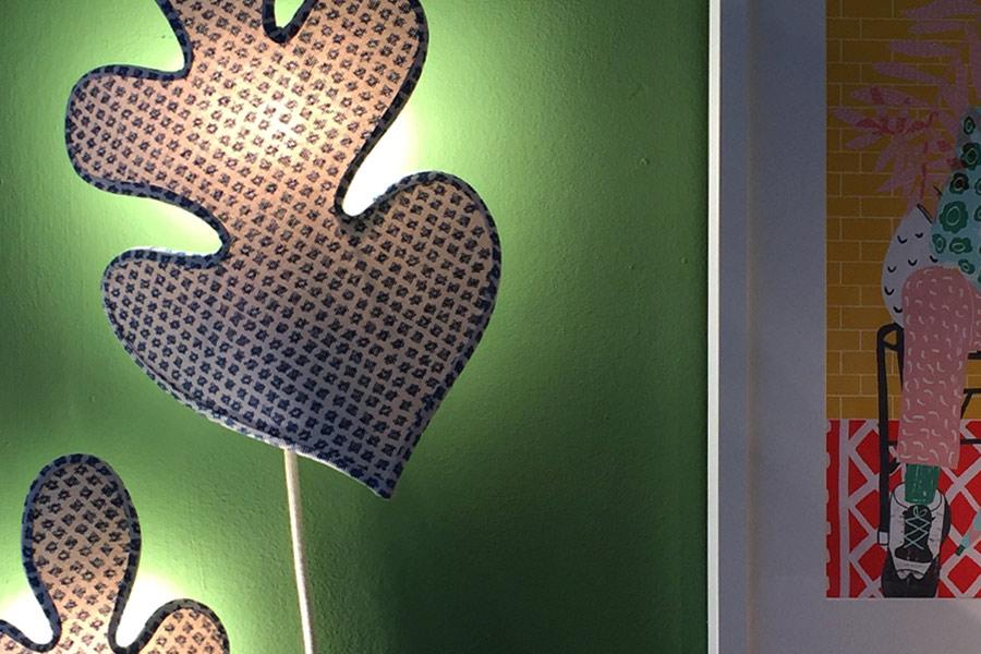 Leaf design lampshades for House & Garden Pop-up Shop.