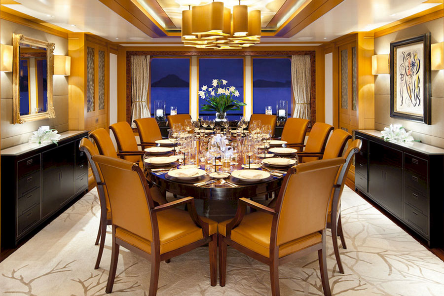 Dining Room on the Motor Yacht Lady Britt POD Interior Style