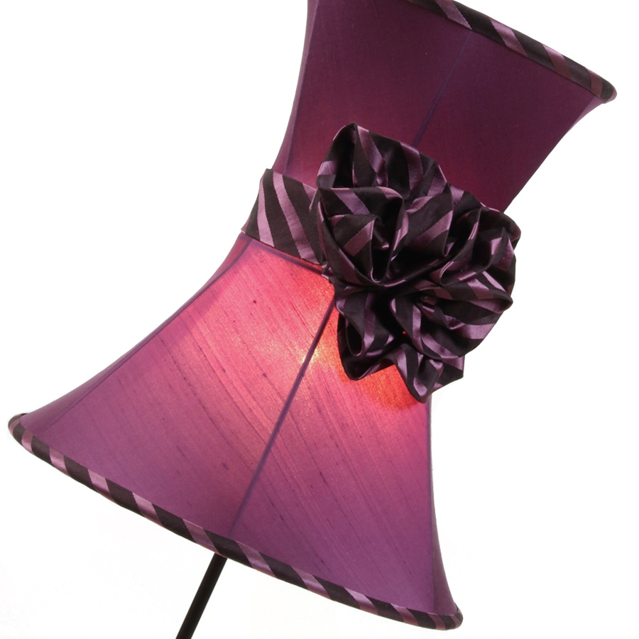 Pink silk and bow hourglass lampshade