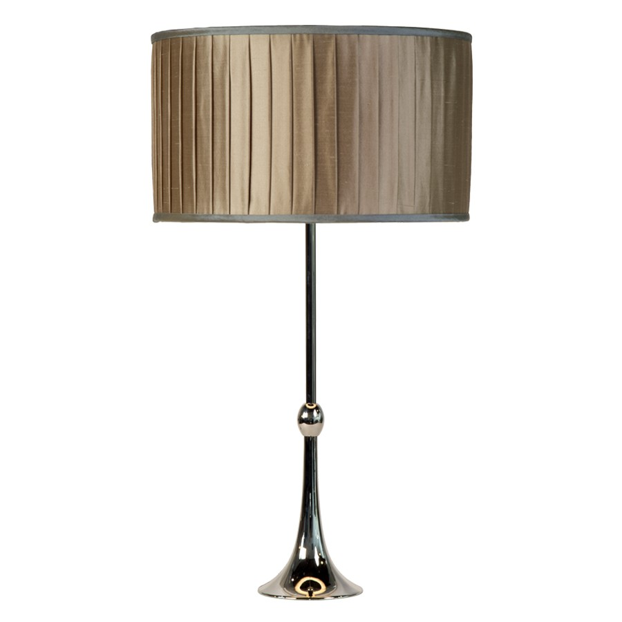 Pebble doupion silk, wide knife pleated drum lampshade