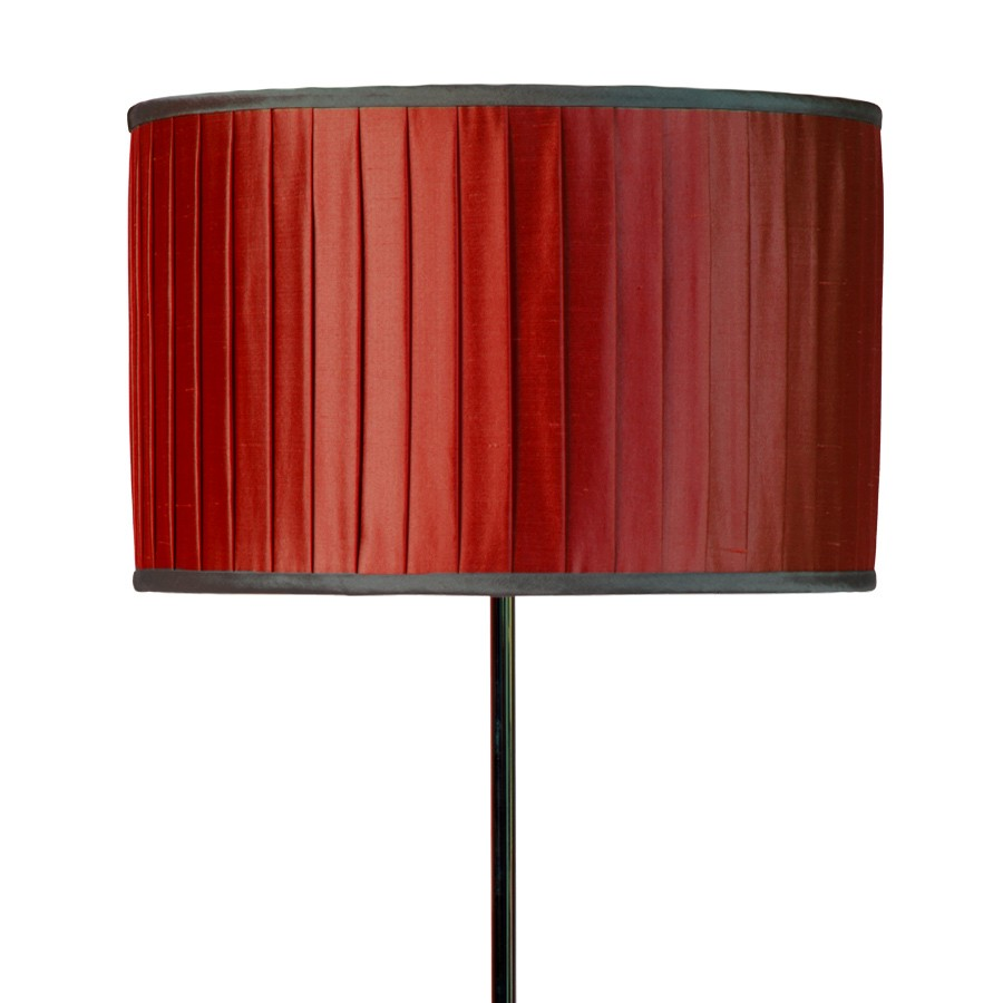 Red silk wide knife pleated lampshade