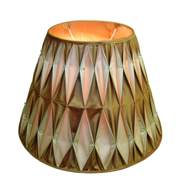 Two colour diamond smock pleated lampshade