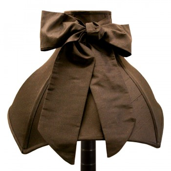 Black silk 'Audrey' with bow lampshade