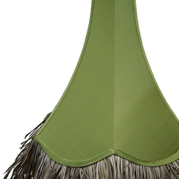 Green tall bowed lampshade with scalloped edge and feather trim