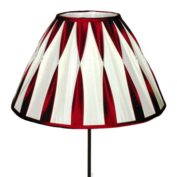 Red and white silk smocked lampshade