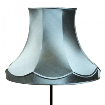 Turquoise silk scalloped lampshade