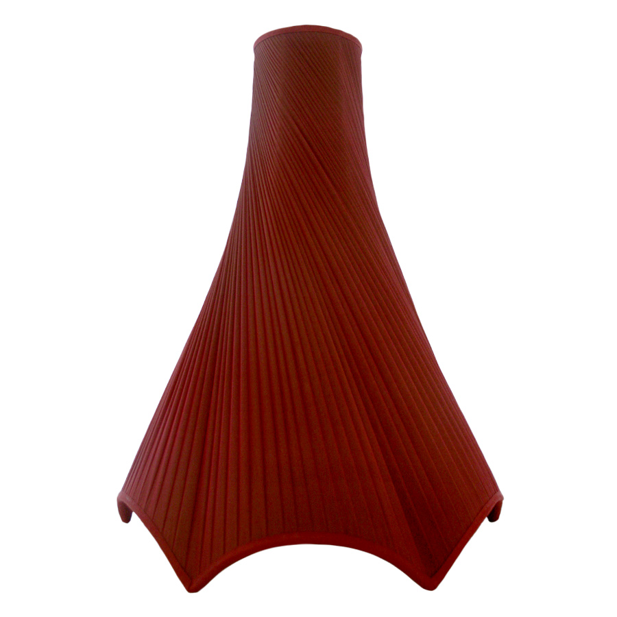 Diagonnally pleated burgundy chiffon silk, bowed ceiling lampshade