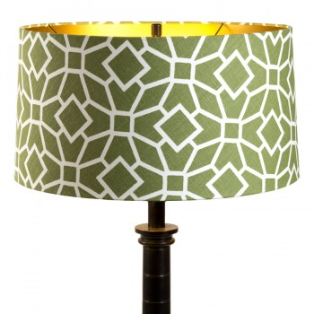 Green and white print laminated lampshade with shiny gold interior