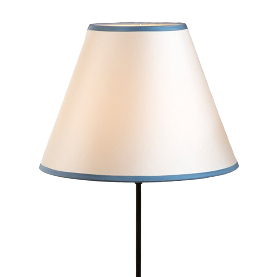 Cream silk laminated lampshade with blue trim