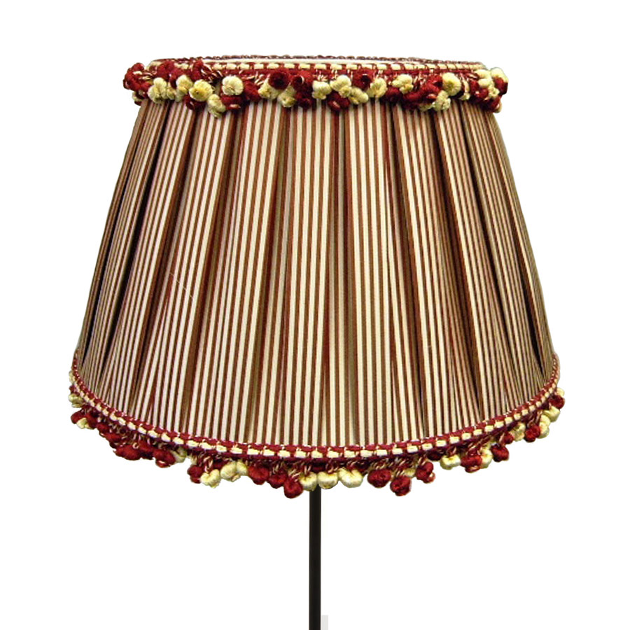 Box pleat red and white stripe lampshade with fringe