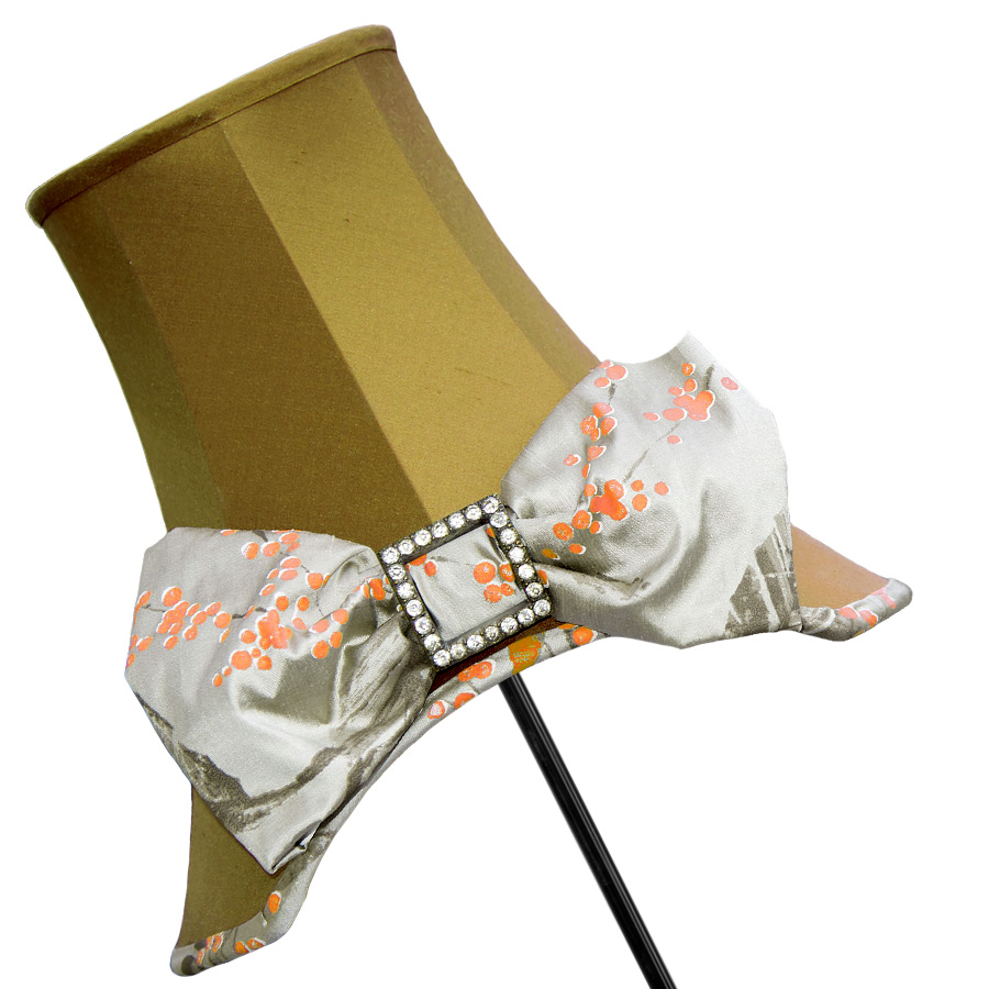 Mustard silk 'Emmy' hat and bow lampshade