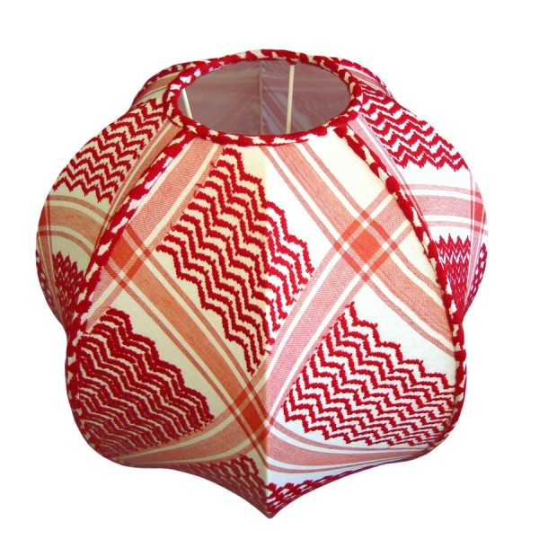 Red and white check stretched globe lampshade