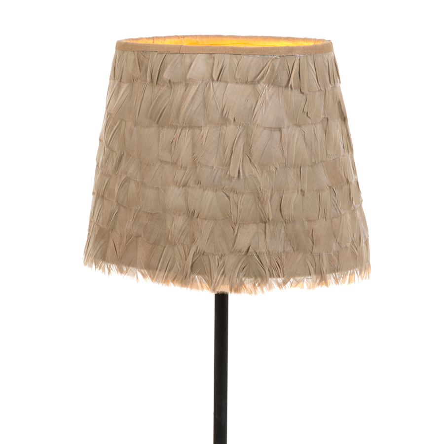 Small oval beige turkey coquille feather lampshade
