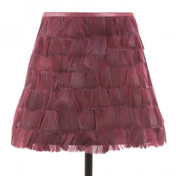 Burgundy feather lampshade