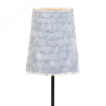 Small grey turkey feather lampshade