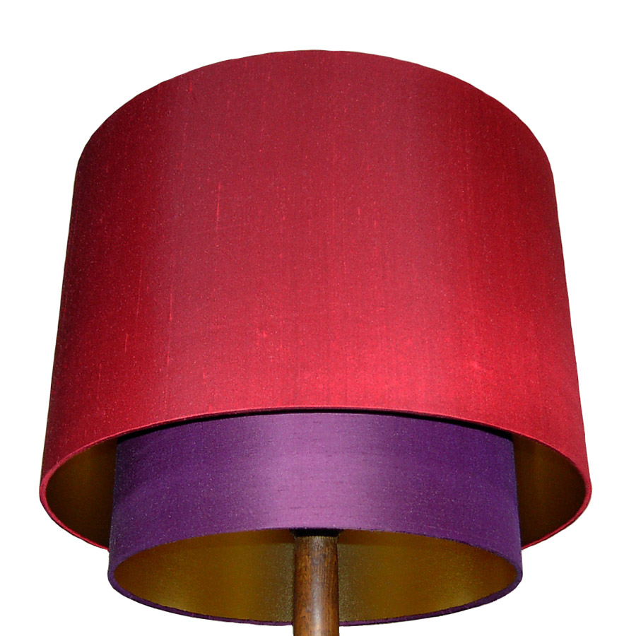 Red and purple double drum laminated lampshade