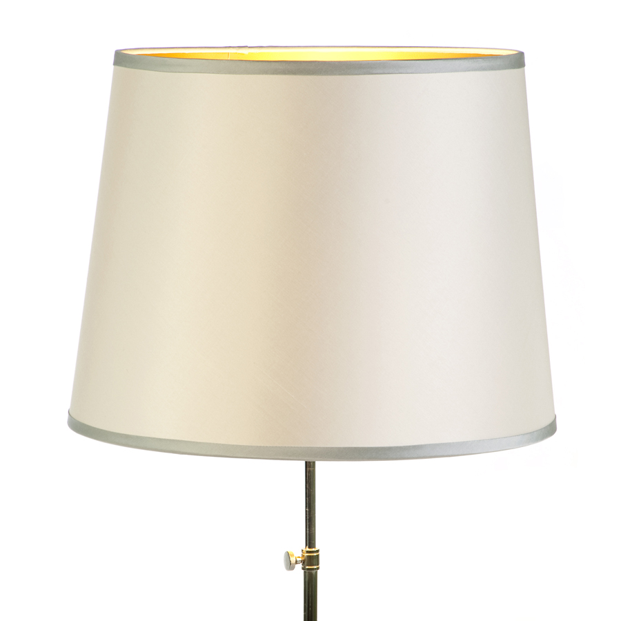 Round cream laminated lampshade with contrast trim