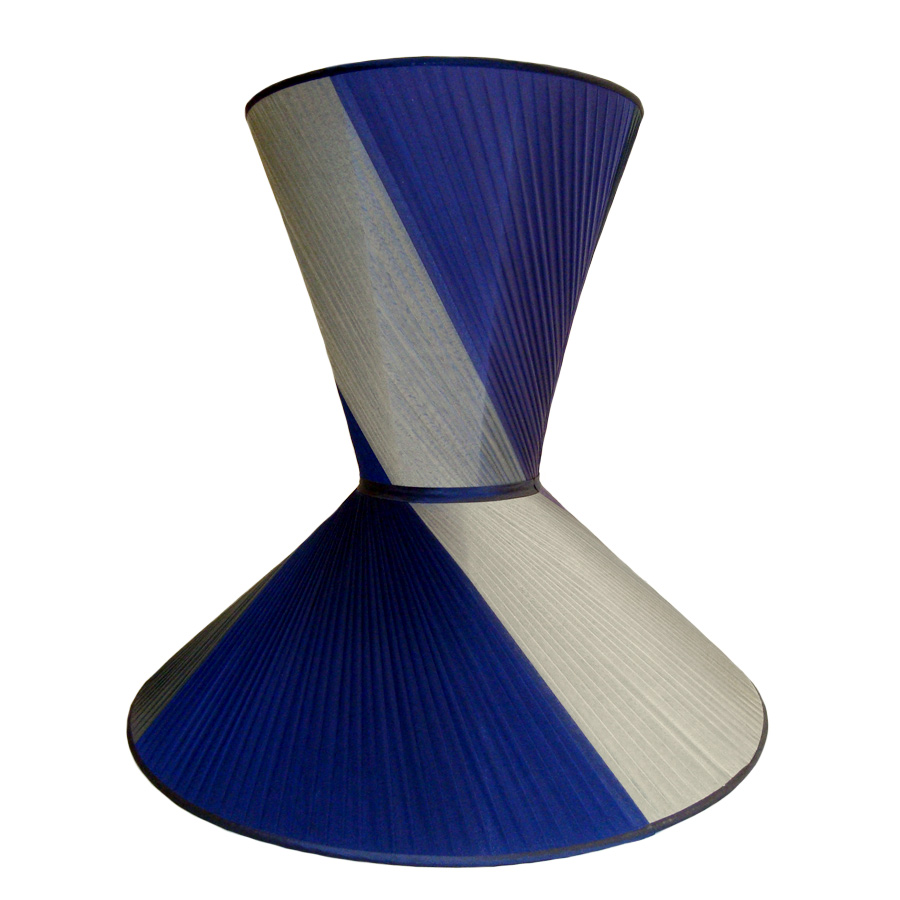 Blue and cream twist pleat hour glass lampshade