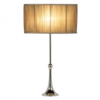 Oval beige gathered silk chiffon lampshade