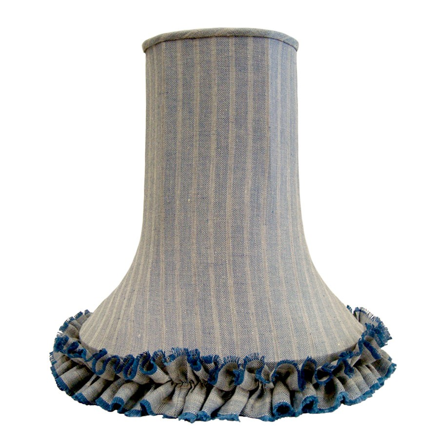 Tweed fluted lampshade with handmade frill