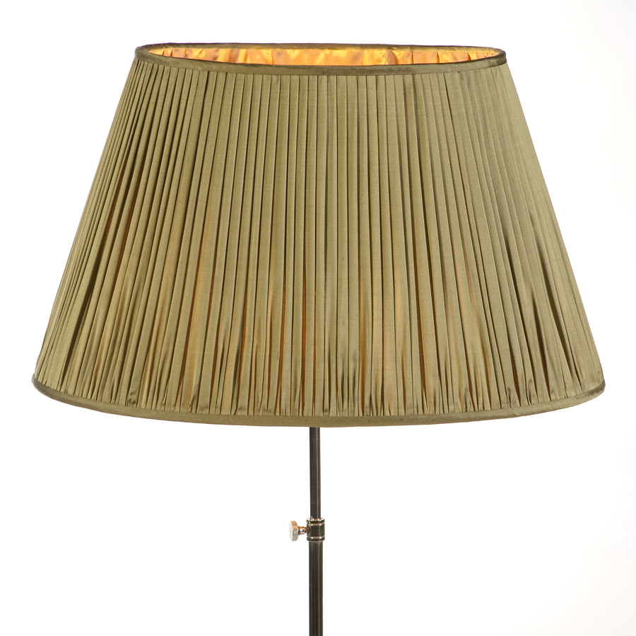 Kahki silk pleat gathered lampshade