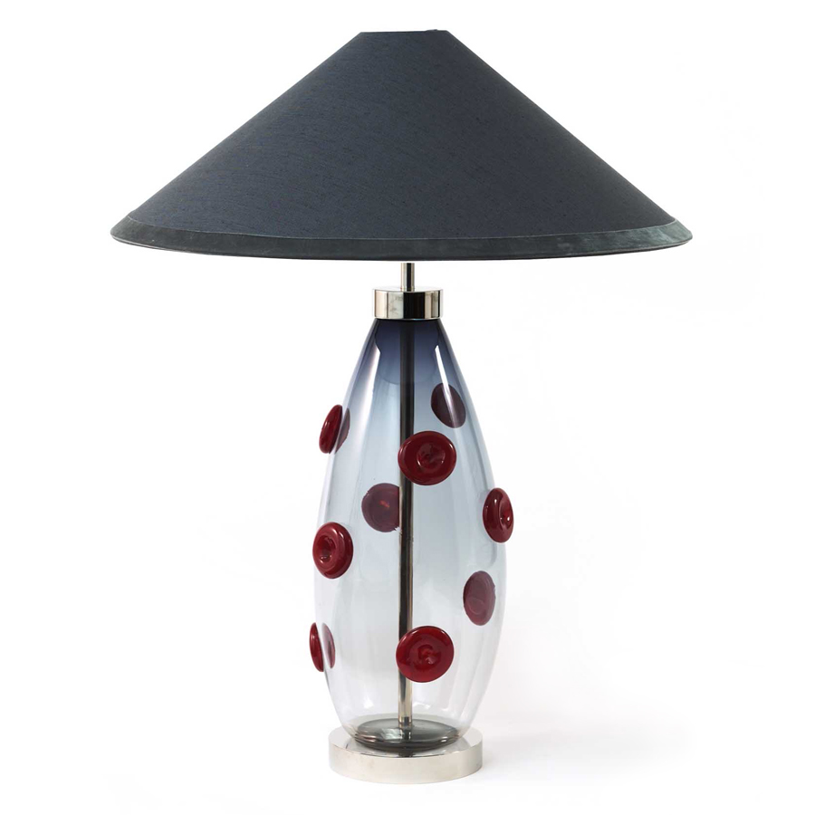 Grey blue coolie laminated lampshade (client's own base)