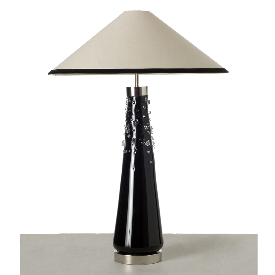 Beige and black coolie lampshade (client's own base)