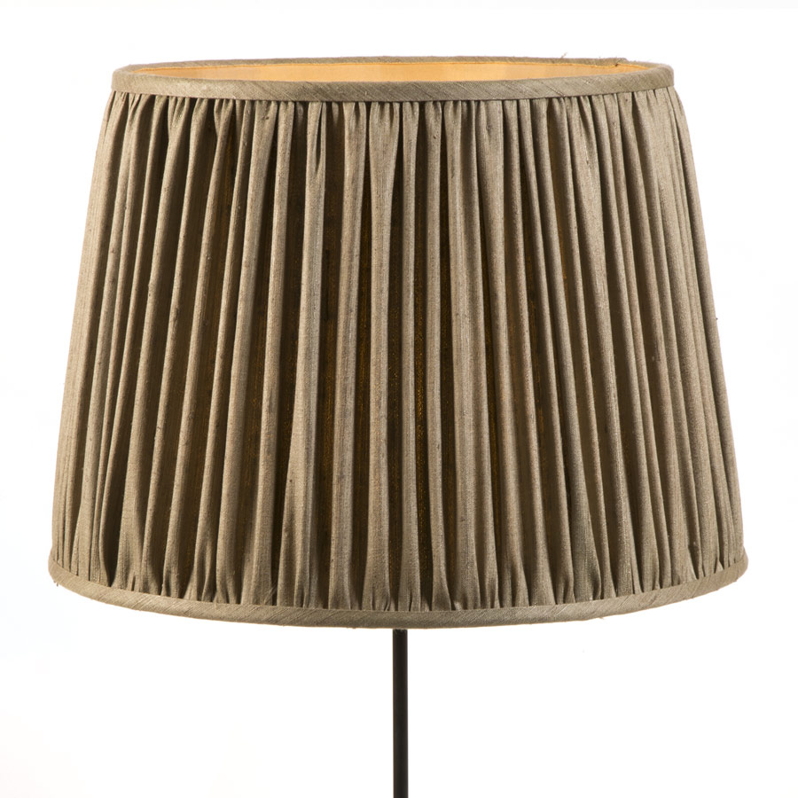 Brown natural linen gathered lampshade