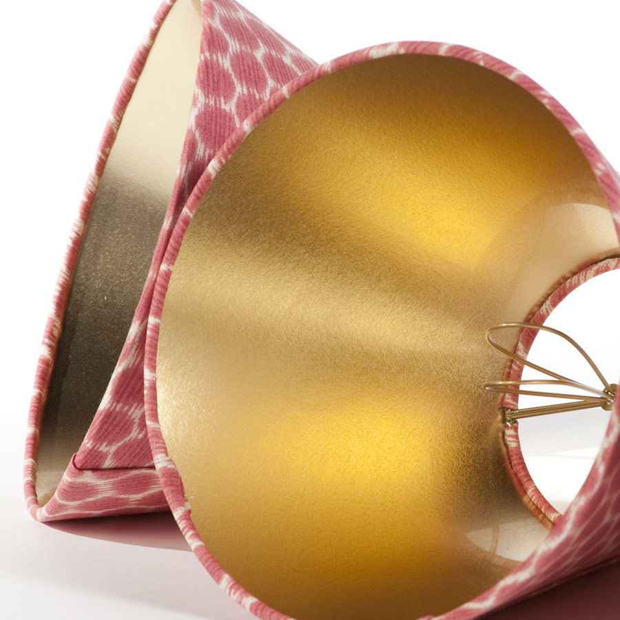 Red and white candle clip lamp shades with shiny gold interior