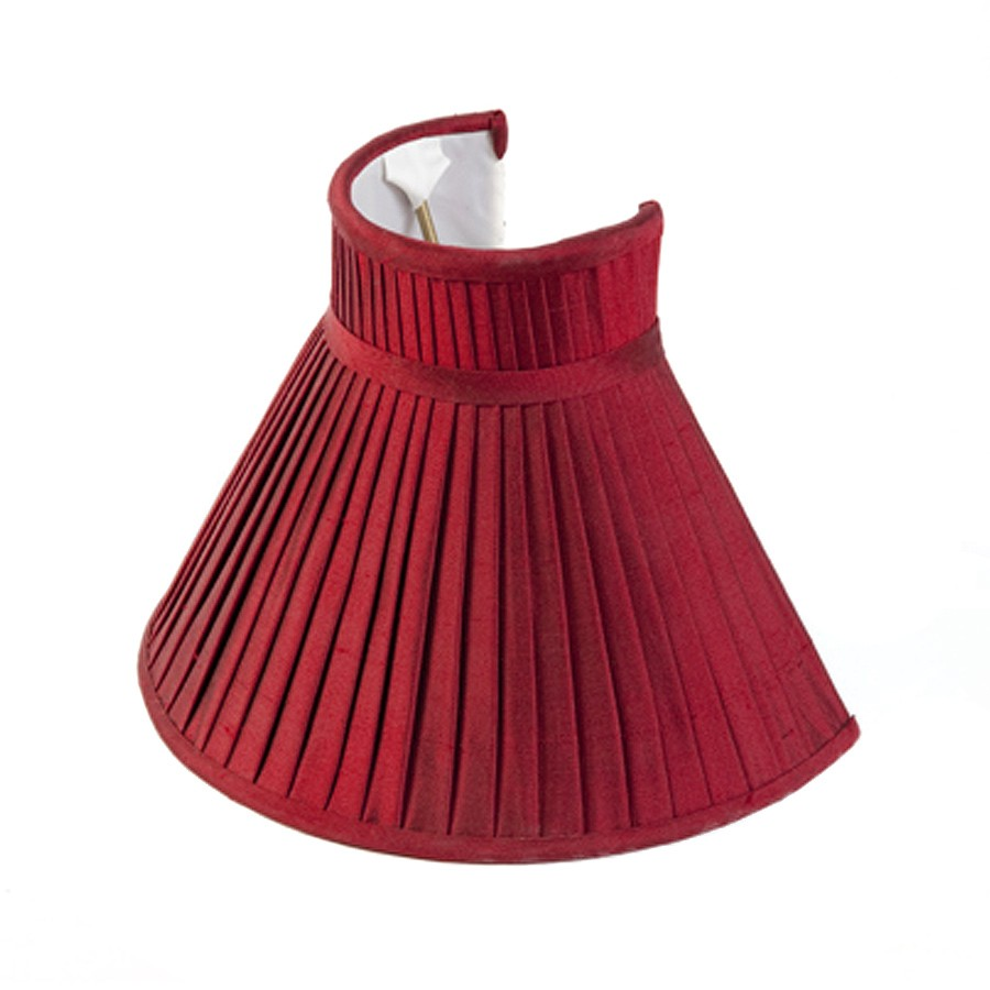 Red Silk Knife Pleated Three Quarter Wall Light Lampshade