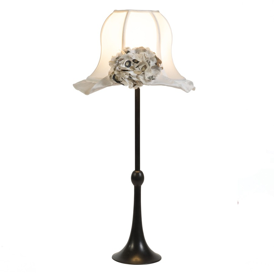 'Emmy' hat and rose lampshade with 'Regency' lampbase