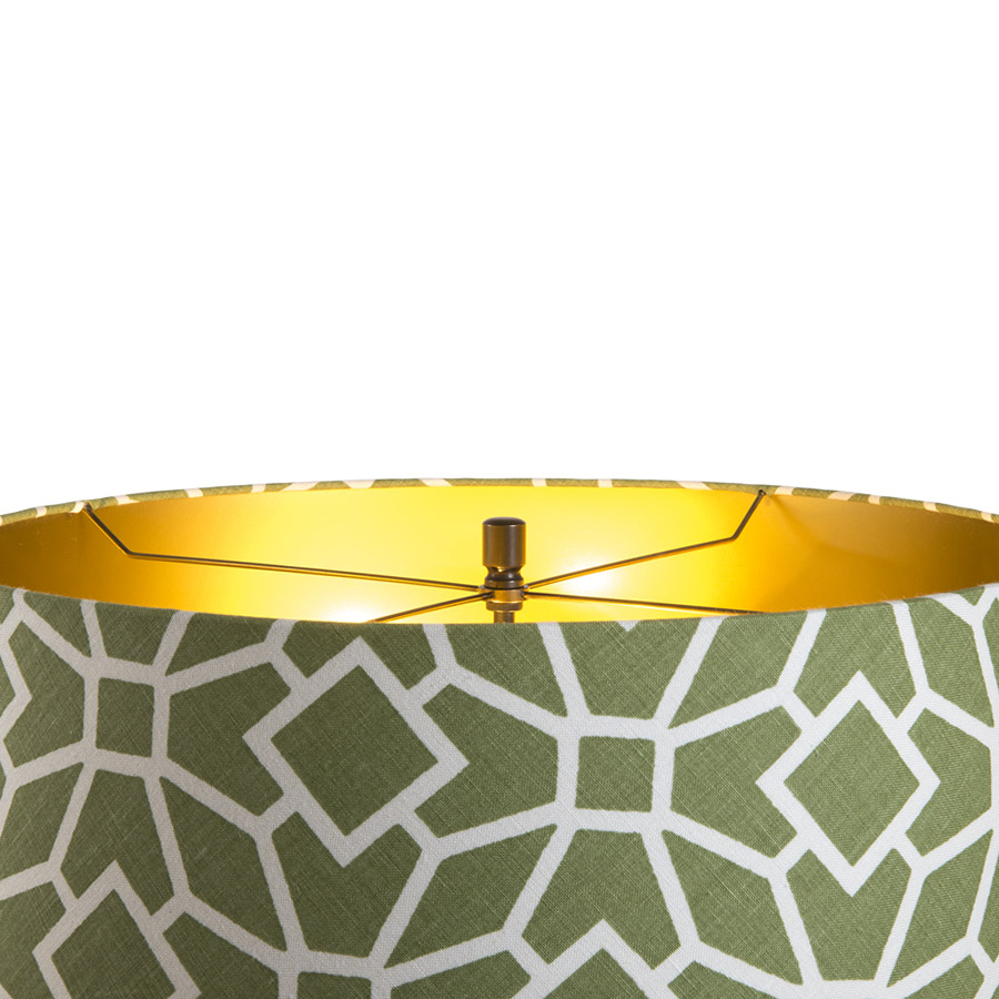 Green and white print laminated drum with finial fitting and shiny gold interior