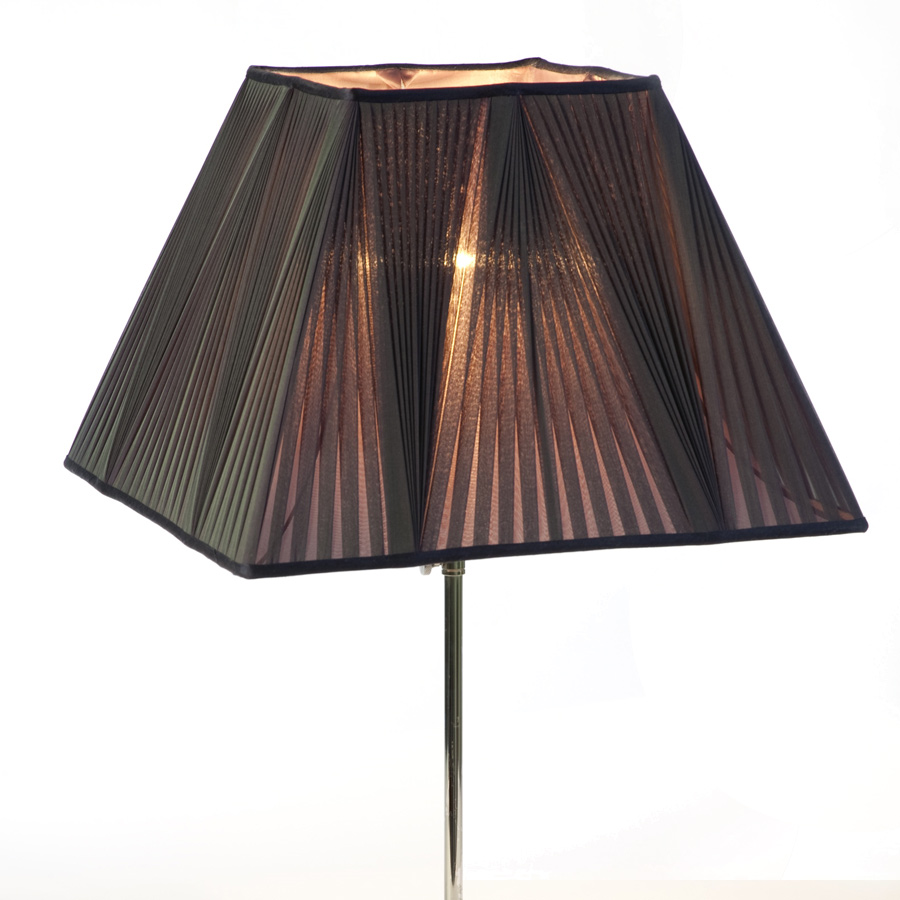 Black silk chiffon reverse pleated rectangle lampshade