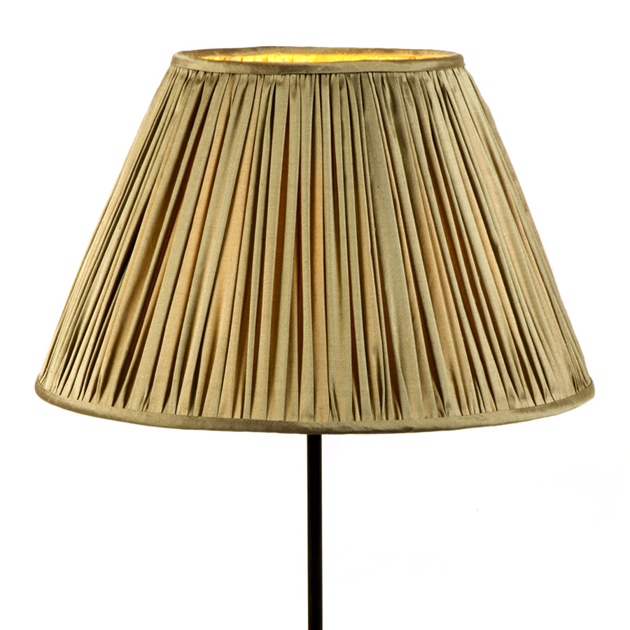 Natural khaki silk gathered lampshade