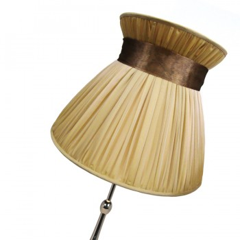 Gathered chiffon lampshade with crown and brown ribbon