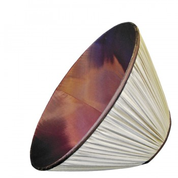 Cream silk chiffon gathered lampshade with contrast lining and trim