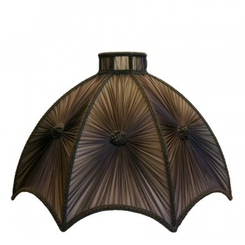 Gathered reverse scalloped dome lampshade in deep brown silk chiffon