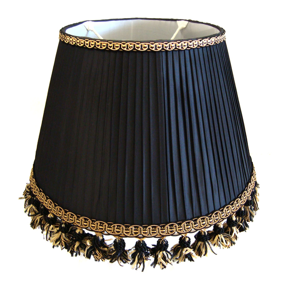 Dark blue knife pleated lampshade with rich gold braiding