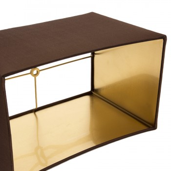 Brown laminated lampshade with shiny gold interior
