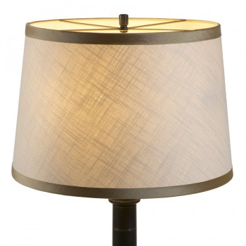 Laminated open weave linen lampshade with contrasting wide gold trim
