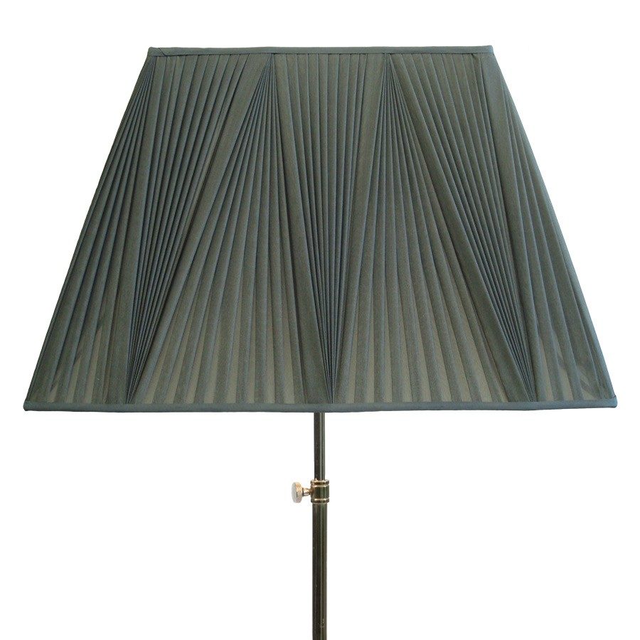 Grey reverse pleat handmade tapered rectangle lampshade