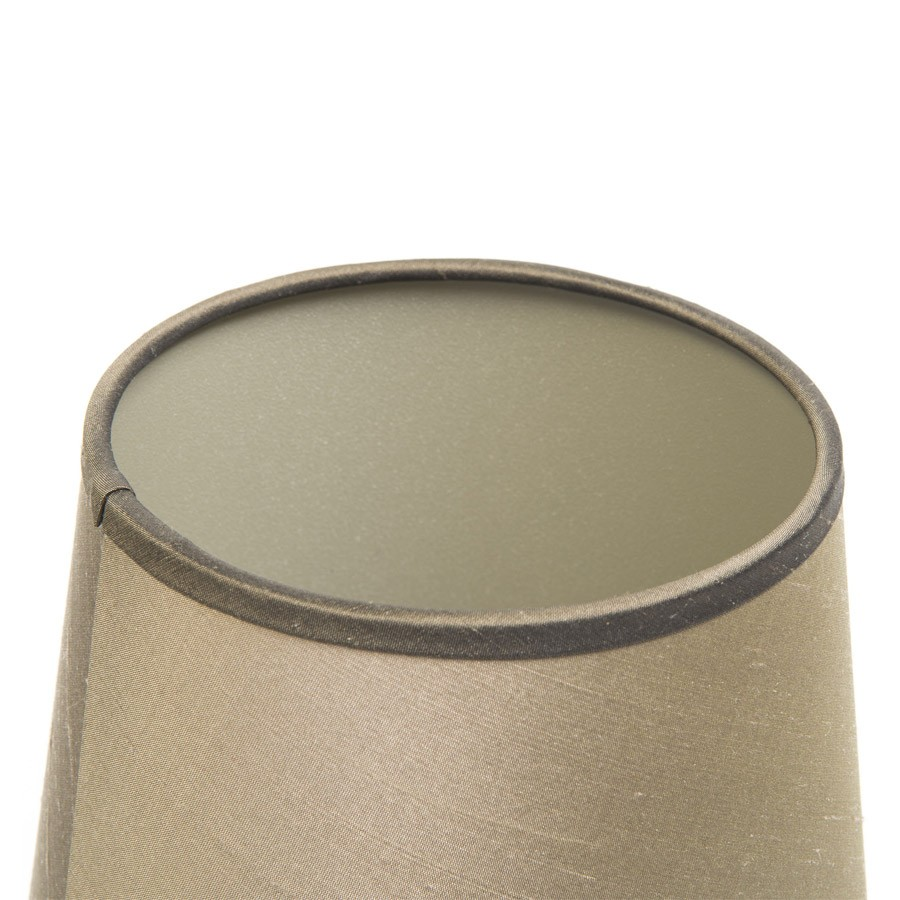 Beige laminated silk lampshade with contrast brown silk trim and a champagne interior
