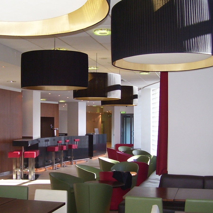 Black silk pleated drum lampshades – Holiday Inn